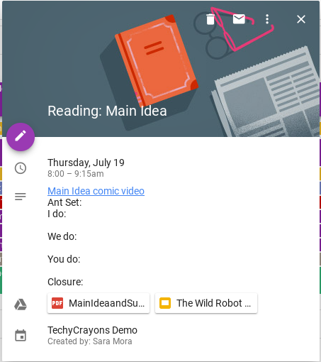 Google Links on Events