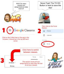 Cartoon with steps to access To DO section on Google Classroom.